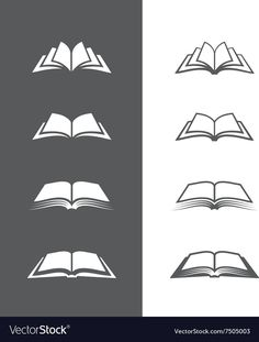 Set of open book icons isolated on black and white backgrounds. - Education logos - Set of open book icons isolated on black and white backgrounds. Can be used as logo for bookstore o - Library Logo, Clip Art Library, Black And White Books, Black And White Background, Education Logo, Education Center, Physical Education, Book Logo, Book Tattoo