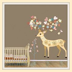 Wall Decal Deer Home Decoration Wall Sticker Wall Art Finish Size 100*90cm Nursery Wall Art Kids on Etsy, $38.83