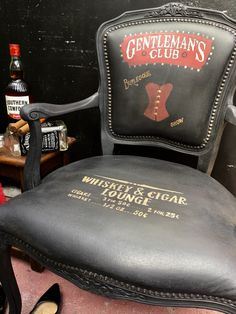 Faux leather chair painted in annie sloan athenian black Whiskey Lounge, Painting Leather, Annie Sloan, Burlesque, Chair, Black, Black People, Stool, Chairs