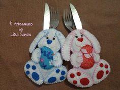 Porta talheres coelhinhos by Litta Santos Visite: o blog http://littasantos.blogspot.com.br a fanpage: https://www.facebook.com/e.artesanato.by.litta.santos