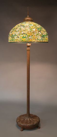 Tiffany studios yellow rose floor lamp