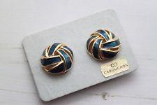 Vintage 1980s Cabouchon Royal Blue Enamel & Gold Deco Swirl Earrings