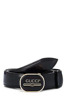 0f76d310e6b Gucci Men s Logo Buckle Leather Belt - Black in 2019