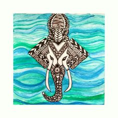 #freehand #zentangle #doodle #art #paint #blue #black #watercolour #elephant