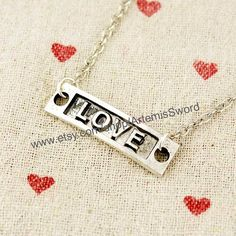 Love  Silver Love Necklace  Dainty Love Necklace by ArtemisSword, $0.20