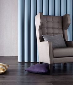 Our Grainger chair upholstered in KnollTextiles Calypso and Juno. Photo by Upholstered Chairs, Accent Chairs, Curtains, Interior Design, Inspiration, Furniture, Home Decor, Nest Design, Biblical Inspiration