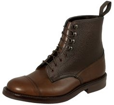 Trickers Lomond boot in two-tone in Coffee Burnished leather with Espresso Scotch Grain leather around the ankle and a Goodyear welted Dainite rubber sole on Trickers' last 4497s.