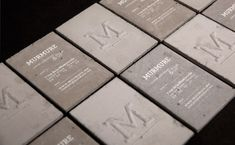 Concrete business cards I'll take a load of business cards, please. Murmure, a French creative agency, created business cards made from concrete! Create Business Cards, Unique Business Cards, Business Card Design, Creative Business, Business Ideas, Typography Design, Branding Design, Design Agency, Brochure Design
