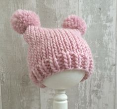 Pink Baby Girl Hat with Ears, Pastel Pink Pom Pom Hats For Girls, Hand Knit Baby Hat, Toddler Animal Hat, Wool Knitted Winter Hat Baby by SnugCreations on Etsy
