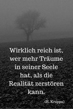 Wirklich reich ist, wer mehr Träume in seiner Seele hat, als die Realität zerstören kann.      (H. Kruppa)