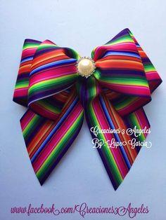 moños - MyKingList.com Making Hair Bows, Diy Hair Bows, Diy Bow, Mexican Hairstyles, Diy Hairstyles, Ribbon Crafts, Ribbon Bows, Bow Template, Mexican Fashion