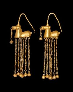 Greek Gold Horse Earrings with Dangles, 5th-3rd Century BC