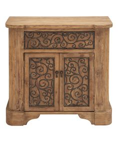 I didn't check the dimensions, but this might be a good t.v. stand for your living room or bedroom. This Embellished Fir Cabinet is perfect! #zulilyfinds