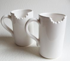 mugs with a bite taken out - cute, but I'd probably forget and dump hot coffee all over myself.