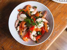 Shrimp and roasted red pepper salad