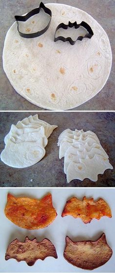 Homemade Halloween Chips ~ These would be yummy served with hummas or salsa! halloween party food and drink, halloween parties Plat Halloween, Buffet Halloween, Soirée Halloween, Halloween Dinner, Halloween Goodies, Halloween Food For Party, Halloween Birthday, Healthy Halloween Treats, Halloween Baking