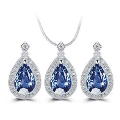 Blue Waterdrop Crystal Necklace Set. Get 20% off your shopping at Klassywear.com. Use code:KW022017 at the checkout. Fast Delivery, Free UK standard delivery.