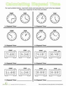 Calculate Elapsed Time Balanced Schooling Homeschool