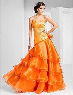 A-Line Милая длиной до пола, органза вечер / платье выпускного вечера с боковой драпировки и ярусов - RUB p. 12 559,50