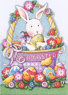 Mary Engelbreit Bunny in a Basket Easter Card