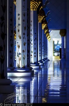 Arcades | Ornate marble columns at the Sheikh Zayed Mosque in Abu Dhabi, UAE