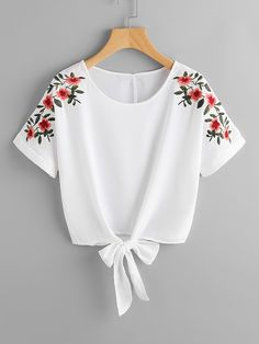 SheIn offers Flower Embroidery Kno - French Shirt - Ideas of French Shirt - Shop Flower Embroidery Knot Front Top online. SheIn offers Flower Embroidery Knot Front Top & more to fit your fashionable needs. Teen Fashion Outfits, Trendy Outfits, Summer Outfits, Fashion Dresses, Womens Fashion, Fashion Top, Winter Outfits, Fashion Ideas, Fashion 2016