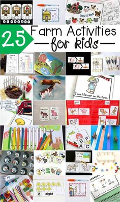 25 fun farm activities for kids! Great for a preschool, kindergarten or first grade farm unit. Playdough Activities, Farm Activities, Preschool Activities, Preschool Farm, Preschool Kindergarten, Kindergarten Freebies, Preschool Centers, Library Activities, Counting Activities