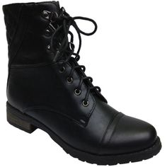 Bamboo Battle-26 Combat Boots (€24) ❤ liked on Polyvore featuring shoes, boots, black, bamboo shoes, bamboo footwear, kohl shoes, black combat boots and black boots