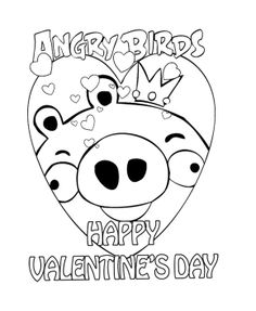Angry Birds Valentines Day Coloring Page For Kids