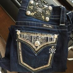Miss Me Easy Skinny Bling Jeans Super awesome easy skinny mid rise Miss Me jeans. Sequins and rhinestones on back pocket. Sequins ALSO on leather in back! Size 25, inseam is 32 inches. No trades, this isn't my size anymore. Miss Me Jeans Skinny