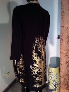 Tunics - Black - Golden Tree Print