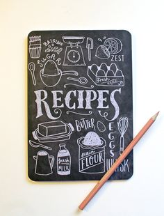 A5 Blank Notebook Hand Lettered Recipe Book by stephsayshello, £2.80