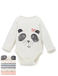 Buy the 5 Pack Panda Print Bodysuits from Marks and Spencer's range. Baby Clothes Uk, Winter Baby Clothes, Toddler Outfits, Kids Outfits, Toddler Girls, Baby Girl Fashion, Kids Fashion, Girls Holiday Dresses, Baby Layette