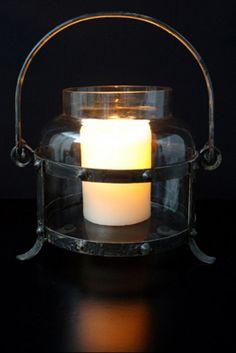 Metal Glass Lantern - by Laguna Furnishings - Accessories, Gifts & More in Westlake Village CA - http://www.lagunafurnishings.com/catalog/accessories