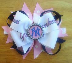 Adjustable PINK New York Yankees bow headband