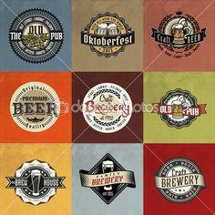 Retro set styled label of beer. — Illustration #42965963
