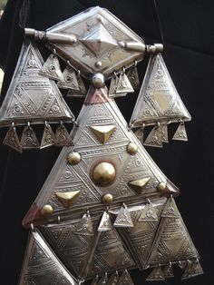 Africa | Tuareg Hoggar Talisman ~ Teraout ~ Algeria | Silver on iron sheet with brass and copper decorations.  | © Liuba Berti.