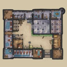 Town Guard Barracks Story urban city by Domagoj Rapcak ArtStation Map twin D&d Dungeons And Dragons, Dungeons And Dragons Homebrew, Dnd World Map, Architecture Antique, Pen & Paper, Rpg Map, Building Map, Map Layout, Minecraft Architecture