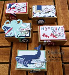 These lovely boxes are easily made with the envelope punchboard and the great Sea Street stamp set - Barbara Meyer