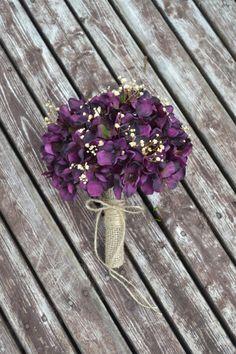 Rustic Hydrangea Bouquet, Silk Wedding Flowers, Bridesmaid Bouquet, Vintage Wedding, Rustic Wedding, Peacock Wedding, Bridal Bouquet, Bride on Etsy, $45.00
