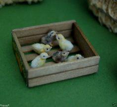 OOAK Realistic ~ Six Baby Chicks ~ Handmade Dollhouse Miniature 1:12 Sculpture