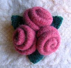 FeltSewGood: Felted Wool Rose Brooch Tutorial