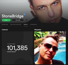 Thank you for the streaming love guys - 101K monthly listeners :-) Check me out here: https://open.spotify.com/artist/1jpQ5Xepnpx5YAqKQITP4A #stonebridge #spotify