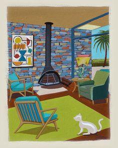 Mid Century Modern Eames Retro Limited à tirage Original peinture intérieur chat