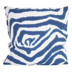 Zebra Blue Pillow