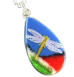 Bright Summer Iridescent Dragonfly Fused Glass Art Pendant Necklace | M2bC - Jewelry on ArtFire