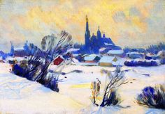 The Athenaeum - Misty Day in Winter, Baie-Saint-Paul (Clarence Gagnon - )