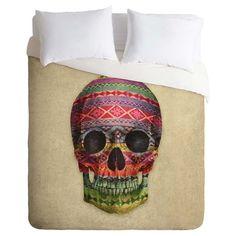Terry Fan Navajo Skull Duvet Cover Set (Twin) - Deny Designs, Beige