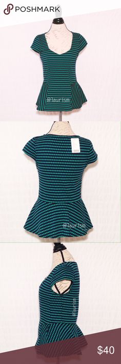 Anthropologie Postmark cap sleeve Peplum top Super cute and perfect for spring and summer!  New with tags.  Navy blue and green, fabric has some stretch.  See photos for measurements and fabric content.  No Trades 😊💕 Anthropologie Tops
