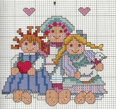 Schema punto croce Tre bamboline